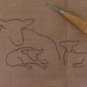 Ewe and Lambs Rug Hooking Kit
